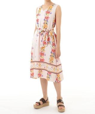GRACE CONTINENTAL フラワーラインプリントドレス ピンク