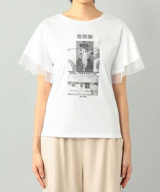 GRACE CONTINENTAL チュールフォトTシャツ ホワイト