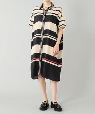 マルチボーダーシャツドレス