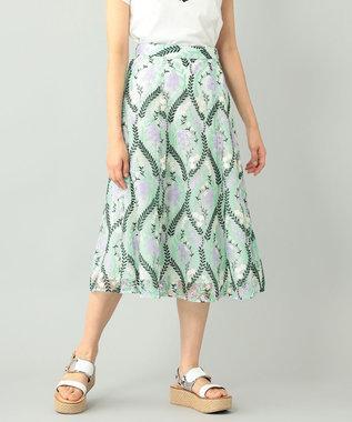 リーフフラワー刺繍スカート
