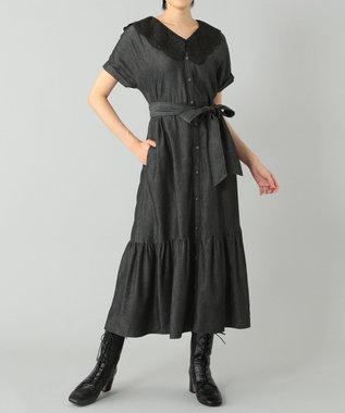 刺繍衿デニムワンピース