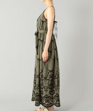 GRACE CONTINENTAL モスリン刺繍キャミドレス カーキ
