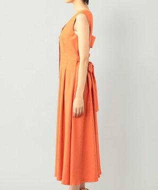 GRACE CONTINENTAL リネンタッチフレアドレス オレンジ