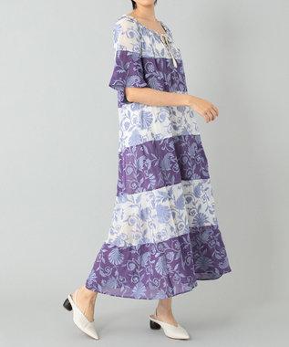 GRACE CONTINENTAL カラーブロック刺繍ワンピース ブルー