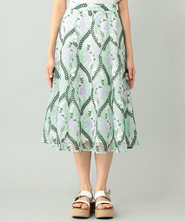 GRACE CONTINENTAL リーフフラワー刺繍スカート
